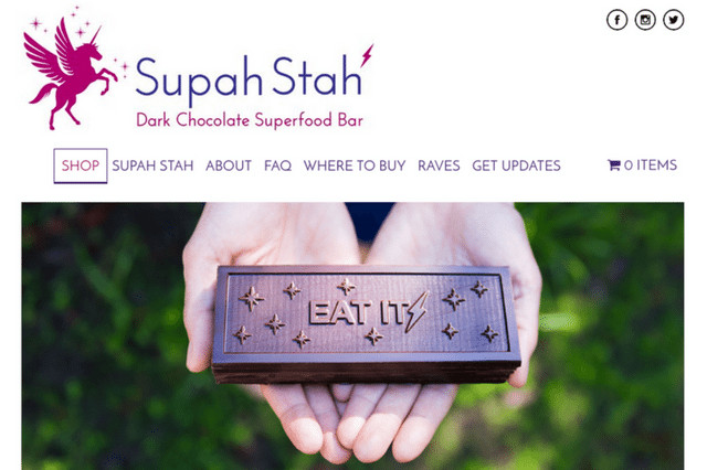 Supah Stah: Dark Chocolate Superfood Bars in Naked, Goji + Mulberry