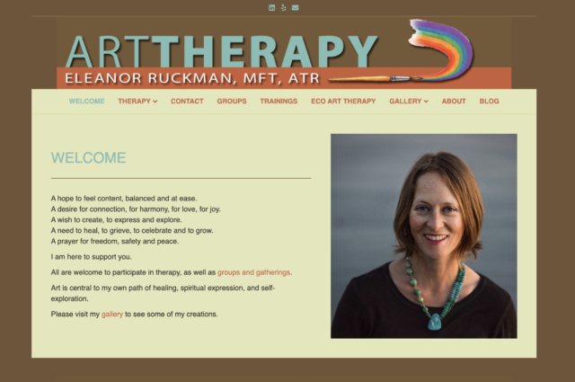 Website for art therapist Eleanor Ruckman, LMFT, ATR, by Kojolapower