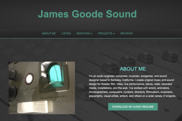 Website for James Goode Sound by Kojolapower