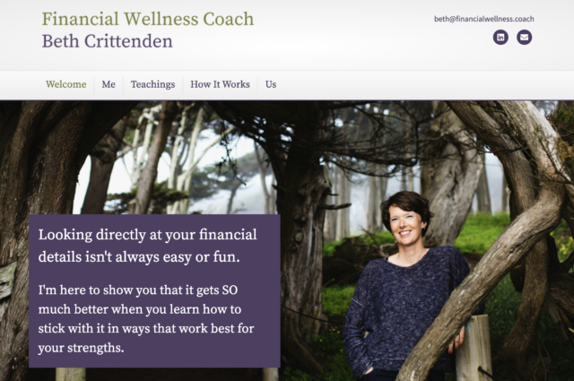 FinancialWellness.coach website design for Beth Crittenden by Kojolapower